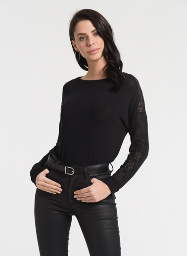 Styletag Dantel Garnili Bluz Siyah